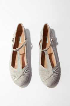 Kimchi Blue Pleated Suede T-Strap Skimmer  #UrbanOutfitters Out of Stock $34 SKU #19359207