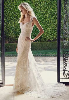 Floral lace sheath gown features low illusion back | Casablanca Bridal | 2232 Tulip | http://knot.ly/64978HZUv