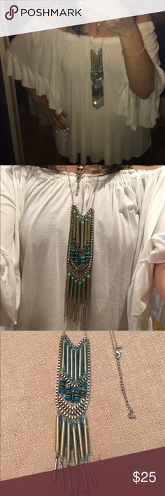 Chico's super long boho style layering necklace The nice thing is it can be layered w/ silver, gold Chico's Jewelry Necklaces