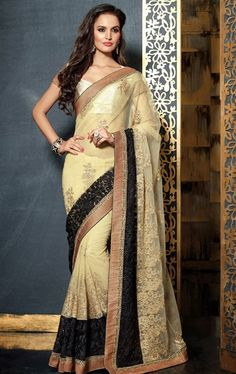 Picture of Gorgeous Black and Buttercream Color Net Saree