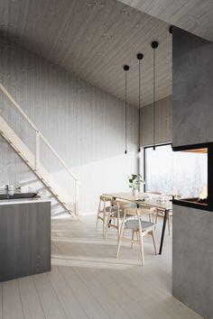 En lugn oas i grått, vit snö och tid att bara vara. #Norrlandsträ #Panel #Golv #Trägolv #Takpanel #Trä #Inredning #Inredningsdetaljer #Renovering #Nordic #Nordicinterior #Scandinavian #Scandinavianhome #Scandinavianstyle #Fjäll #Fjällen #Fjällstuga #Eldstad Minimalist Office, Minimalist Interior, Chalet Design, Homemade Home Decor, Minimal Home, Workspace Inspiration, French Decor, Office Interior Design, Traditional House