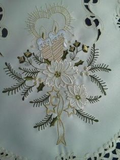 48 Christmas Tree Skirt Embroidered with Gold Candles and Stars Handmade *** You can find more details by visiting the image link.