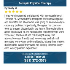 I was very impressed and pleased with my experience at Terrapin PT. My wonderful...