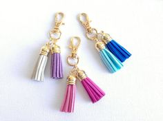 double tassel keychain - small tassel keychain - tassel - faux leather tassel keychain on Etsy, $8.00