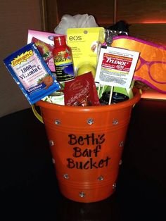 """Minus it saying """"barf bucket"""" this is super cute! Bride to be bachelorette party hangover bucket"""