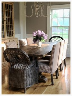 Dining room with wicker head chairs and gingham slipcovered parsons chairs as side chairs Dining Room Design, Dining Room Decor, Decor, Interior Design, House Interior, Farmhouse Dining, Home, Interior, Home Decor