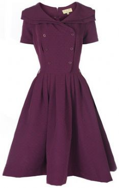 LINDY BOP 'VIOLA' VINTAGE 1950's PLUM SHAWL COLLAR DOUBLE BREASTED ROCKABILLY DRESS. Plus Size