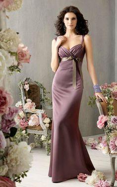 Empire Taille Herz-Ausschnitt enges bodenlanges Brautjungfernkleid