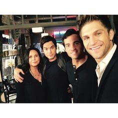 Marlene King, Tyler Blackburn, Ian Harding, and Keegan Allen