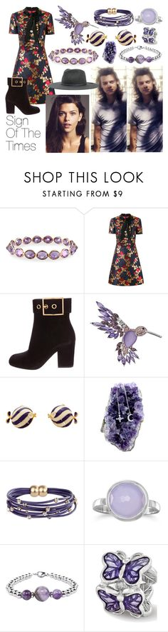 """Sign Of The Times // H.A.R.R.Y S.T.Y.L.E.S"" by nerdyhesc ❤ liked on Polyvore featuring Piranesi, Gucci, Dana Buchman, Dsquared2, SAACHI Style, BillyTheTree, Pink Box, Brixton and vintage"