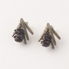 Sequoia Post Earrings with Cone by Michael Michaud  http://www.bestamericanarts.com/sequoia-post-earrings-with-cone