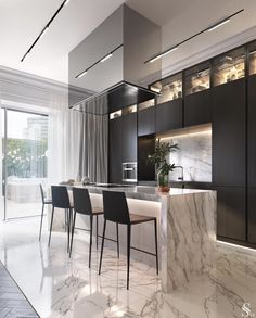Kitchen countertop materials: pros and cons Modern Kitchen Design Cons Counterto Luxury Kitchens Luxury Kitchen Design, Best Kitchen Designs, Luxury Kitchens, Interior Design Kitchen, Dream Kitchens, Beautiful Kitchens, Marble Interior, Interior Decorating, Hall Interior