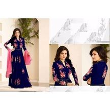 Priyank Creation Royal Blue And Pink Embroidered Georgette Semi Stitched Anarkali Suit With Dupatta