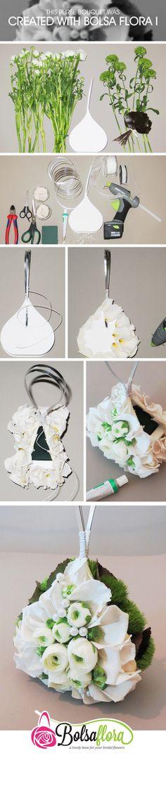 DIY purse bouquet, creted with Bolsa Flora Diy Wedding Flowers, Diy Wedding Decorations, Bridal Flowers, Flower Decorations, Floral Wedding, Wedding Bouquets, Art Floral, Floral Bags, Floral Design