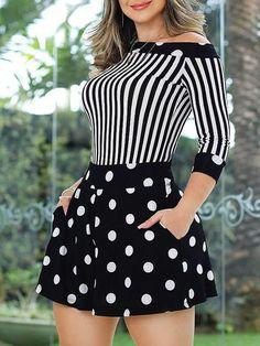 Dot With Striped Print Splicing Romper #modelagem, #modelagempassoapasso #seam #costura #sewingtips #moldes #lookdodia #couture #cucitura #?? #naht #modélisationdevêtements #couturefacile #couturedebutant #couture #seamripper #doityourself