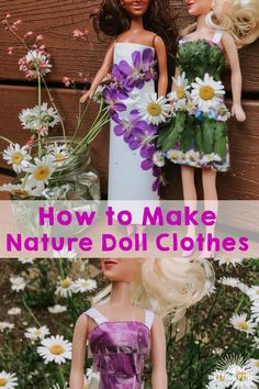 Here are two easy ways to make beautiful doll clothing made out of pieces of nature! You can try this activity during any season and it's fun to see how your doll's outfit changes from one season to the next. Creative Activities For Kids, Outdoor Activities For Kids, Children Activities, Creative Kids, Forest School Activities, Nature Activities, Inspired Learning, Natural Parenting, Nature Crafts