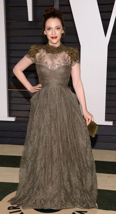 Kat Dennings attends the 2015 Vanity Fair Oscar Party in Beverly Hills.