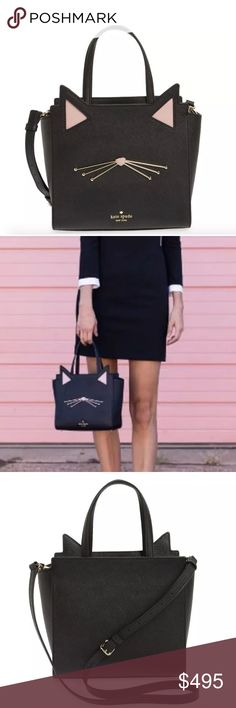 """Kate Spade Hayden Jazz Things Up Cat black satchel SIZE 8.6"""" h x 9.2"""" w x 4.7"""" d drop length: 5"""" handheld, 18.5-20.5'' adjustable strap MATERIAL crosshatched leather with matching trim quick & curious lining 14 karat gold plated hardware style # pxru7047   CROSSBODY WITH ZIP TOP CLOSURE AND ADJUSTABLE STRAP interior zip and double slide pockets kate spade new york embossed signature with light gold spade stud  gorgeous shape (used for a photoshoot then stored) kitty cat small hayden satchel…"""