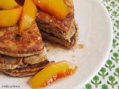 Pecan Pancakes with Bourbon Vanilla Peaches - by Culicurious