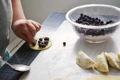 Crispy blueberry pierogies with sour cream...yum! You can also fill with the usual potato and cheese, same recipe.