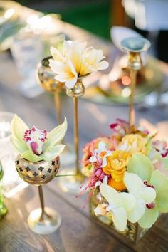 Brass bud vases | Joielala Photography | see more on: http://burnettsboards.com/2014/05/colorful-tropical-wedding-ideas/