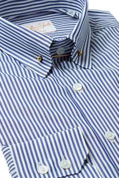 Mens Navy Striped Pin Collar Shirt
