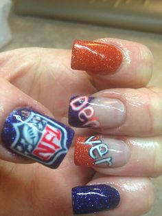 Are you a big enough Broncos fan to paint your nails like this? Crazy Nails, Love Nails, Pretty Nails, Denver Broncos Nails, Nfl Broncos, Football Nail Art, Sassy Nails, Gel Nail Art, Cute Nail Designs