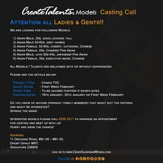 We are looking for Asian Male and Female models for Condo TVC.