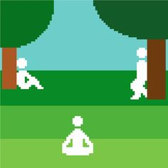 Afternoon in the park. Modern minimalist by crossstitchtheline