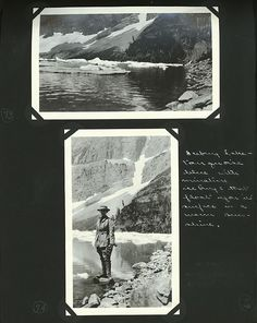 Edward and Margaret Gehrke scrapbook page with photos of landscape of Iceberg Lake and Margaret standing on rock at Iceberg Lake, Glacier National Park. August 2-August 29, 1919.