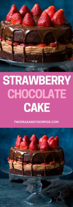 Strawberry Chocolate Cake Recipe-chocolate cake with chocolate frosting, chocolate ganache, and sweet strawberries! This is the BEST chocolate cake recipe! For more easy and delicious dessert recipes, check us out @twopeasandpod #desserts #sweettooth #easyrecipe