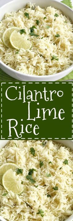 Cilantro lime rice is the perfect side dish for burritos nachos or even a taco salad. So many options! Delicious toasted rice is cooked to perfection in a flavorful chicken broth full of spices cilantro and lime. This is the best cilantro lime rice an Mexican Food Recipes, Vegetarian Recipes, Cooking Recipes, Healthy Recipes, Salad Recipes, Lime Recipes, Cooking Tips, Rice Side Dishes, Food Dishes
