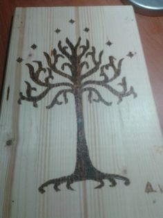 The tree of Gondor. Pyrography. By Dimitris Kampakakis.