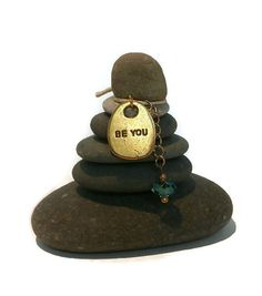 Be You Rock Cairn Zen Garden Confidence by CedarwoodCreations