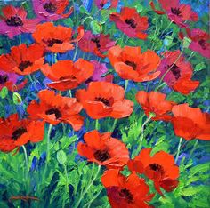 Large Art Prints, Flower Close Up, Different Kinds Of Art, Graffiti Murals, Acrylic Flowers, Sky Art, Flower Aesthetic, Red Poppies, Beautiful Paintings