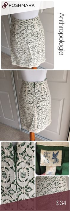 "Anthropologie Edme & Esyllte's aine pencil skirt 0 ♦️Like new. No stains, holes or piling. ♦️Cream lace overlay with kelly green lining Length is 20"" Waist is 12.5"" flat across ♦️Material: shell - 80% cotton / 20% polyamide  lining - 100% cotton ♦️Hidden half zip down the back Anthropologie Skirts Midi"