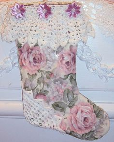 Shabby Chic Christmas Stocking Handmade Pink Roses by CissysCrafts