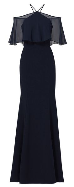 Off the Shoulder Ruffled chiffon Jersey Evening Gown Dark Navy Simple Prom Dress #prom #promdress #prom2017 #formaldress #formalgown #wedding #macloth #gown #dress