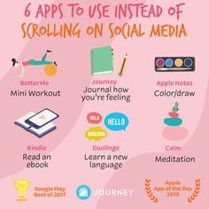 Instead of scrolling on social media, be intentional with how you spend your time. Try one of these self-care apps instead of spending unproductive time on social media! Self Care Bullet Journal, Happiness Challenge, Mental And Emotional Health, Self Care Activities, Self Improvement Tips, Self Care Routine, Me Time, How To Better Yourself, Best Self