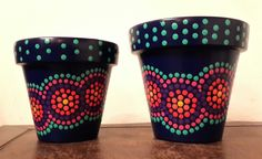 Navy blue and turquoise touch! Hand painted flowerpots. Macetas pintadas a mano. Facebook: A'cha Pots.