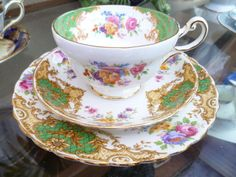 Lovely Vintage Trio Paragon China Tea cup With Mix & Match Tuscan Saucer & Plate