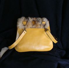 Handbag for women with recycled fur and yellow leather
