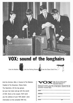 "The VOX Showroom - Vox 1965 - The Beatles ""Sound of the Longhairs"" Print Ad"