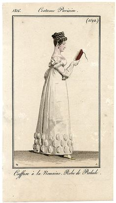 1816 hair and evening gown idea. This is the plate I'm basing my sleeves on.