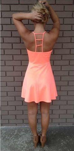 Neon coral ladder back dress