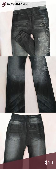 Faux Jean Leggings w/Butterfly print:  size XS This Faux Denim Black Jean Leggings, pencil pant, has a cute Butterfly print.  Very stretchy material, no tags. Pants Leggings