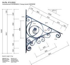 »Canopy bracket HISTORISM« von Replicata - - Replikate Metal Art Projects, Metal Crafts, Outdoor Window Awnings, Wrought Iron Decor, Metal Bending, Porch Roof, Forging Metal, Metal Tools, Iron Art