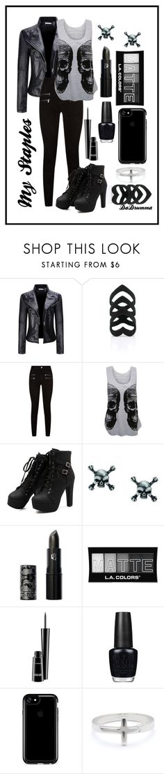 """My Staples"" by dadrumma ❤ liked on Polyvore featuring WithChic, Paige Denim, WearAll, Lipstick Queen, L.A. Colors, MAC Cosmetics, OPI, Speck and Lizzy James"