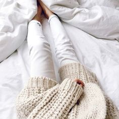 comfy sweaters and white jeans