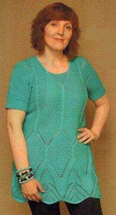 Вязаные спицами туники для полных женщин. Размер: M-L. Вам потребуется: пряжа Jeans (45% полиакрил, 55% хлопок, 160 м/50 г) - 350 г бирюзового цвета; спицы №2,